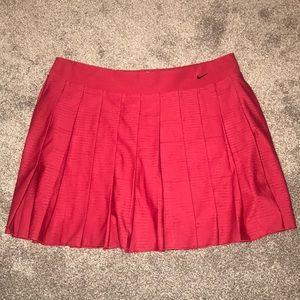 Red Nike Dry Fit Pleated Tennis Skort
